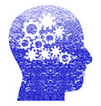 human mind gears textured icon vector image