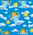 pattern with angels and clouds on a blue vector image
