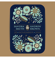 Wedding invItation card with flowers navy blue vector image