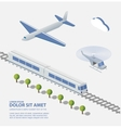 Airplane Train Helicopter vector image vector image