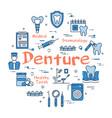 blue round denture concept vector image