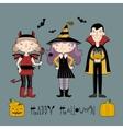 Kids in halloween costume vector image