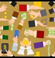 money hands human businessman arm holding vector image