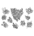 e a set of flowers Doodle vector image vector image