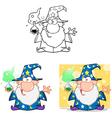 Crazy Wizard Holding A Magic Potion Collection vector image vector image