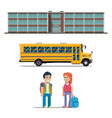school bus and schoolchild flat vector image