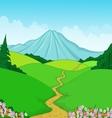 Beautiful green landscape cartoon background vector image vector image