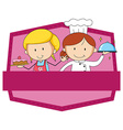 Pink badge of baker and chef vector image