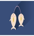 Flat with shadow Icon fresh fish bright background vector image