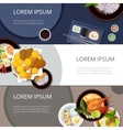 Asia food banners set Thai food japanese vector image