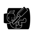 baby with bottle icon sig vector image