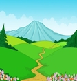 Beautiful green landscape cartoon background vector image