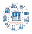 blue round farmers market concept vector image
