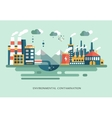 Pollution urban landscape the plant with pipes vector image