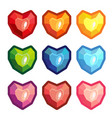 set of colored stones in the form of a heart vector image