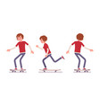 skateboarder boy riding in motion vector image