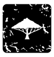 Tree with spreading crown icon grunge style vector image