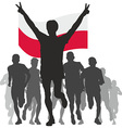 Winner with the Poland flag at the finish vector image