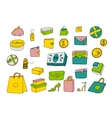 Cartoon shopping set in doodle style vector image