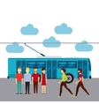 group of people in transport terminal vector image