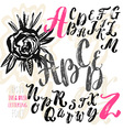 Hand made brush and ink typeface Handwritten retro vector image