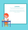 learning banner with redhead boy with textbook vector image