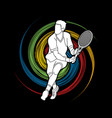 man tennis player running sport man action vector image