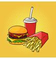 hand drawn pop art of hamburger french fries and vector image