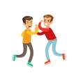 Two Equal Size Boys Fist Fight Positions vector image