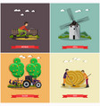 set of farming posters banners in flat vector image vector image