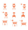 grilled fish icons set vector image