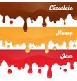Chocolate honey jam drips on white background vector image