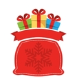 Christmas Label Icon Flat with Bag with Gift Boxes vector image