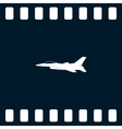 Jet fighter icon airplane silhouette vector image