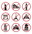 Not to visit landmarks icons vector image