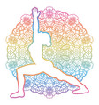 women silhouette warrior 1 yoga pose vector image