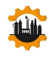 oil refinery with gear icon vector image