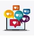 bubble laptop heart social media icon vector image