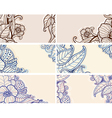 Set of abstract hand drawn floral cards vector image vector image