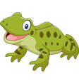 Cartoon funny frog sitting isolated vector image