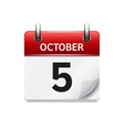 October 5 flat daily calendar icon Date vector image