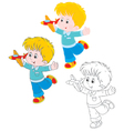 Boy with a plane vector image