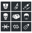 Ebola epidemic icons set vector image