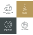 Fast food restaurant and cafe logo set in vector image