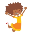 Jumping afro girl vector image