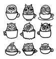Owls hand drawn set vector image