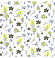 small flowers and branches seamless pattern vector image