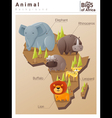 Wild African animal background Big five 2 vector image