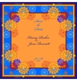 Winter wedding frame with orange and blue vector image
