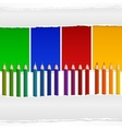 Four color pencils and torn vector image vector image